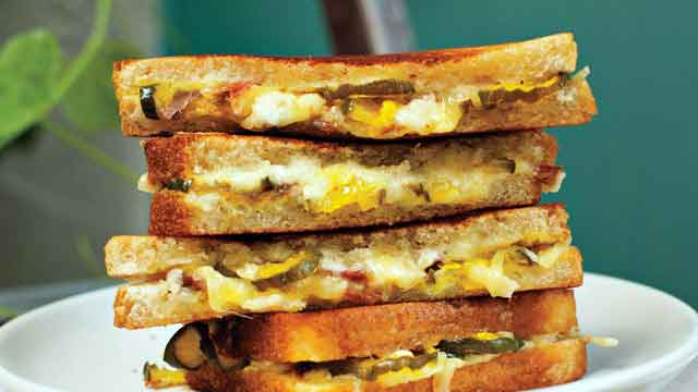 Grilled Cheese With Ham And Pickle Sandwiches